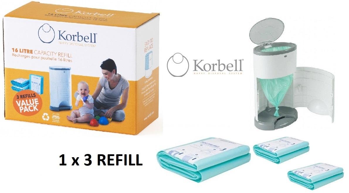 Korbell Korbell Luieremmer navulling - 15L zak - 1 x 3 stuks
