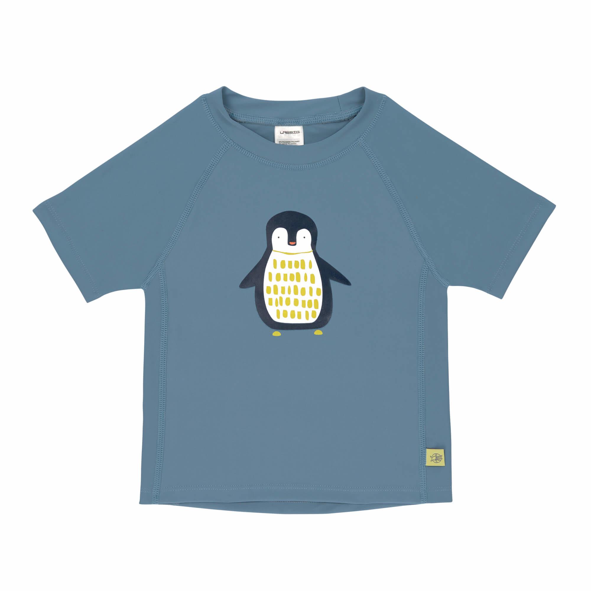 Lässig Lässig Splash & Fun Korte mouw Rashguard / zwemshirt - Penguin niagara blue 6 maanden
