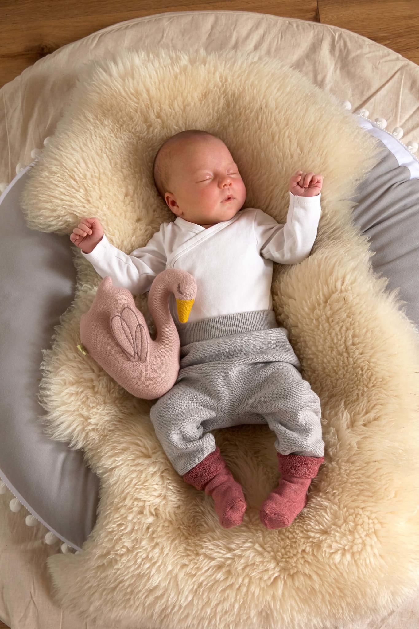Lässig Lässig gestrickte Babyhose GOTS Garden Explorer grau 62-68, 2-6 Monate