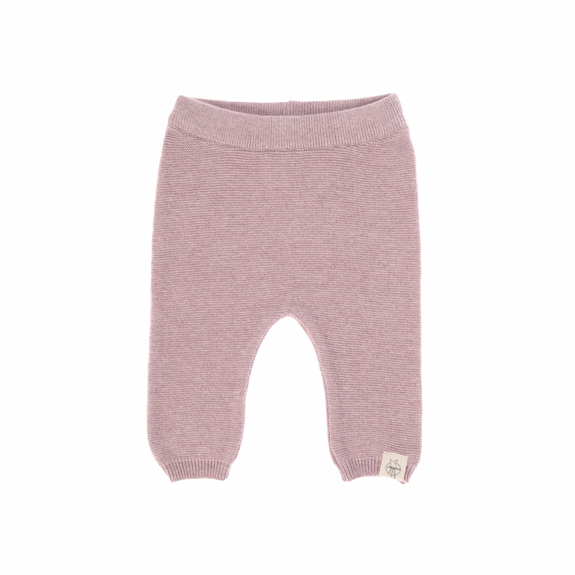 Lässig gebreide baby broek GOTS Garden Explorer light pink 62-68, 2-6 mnd