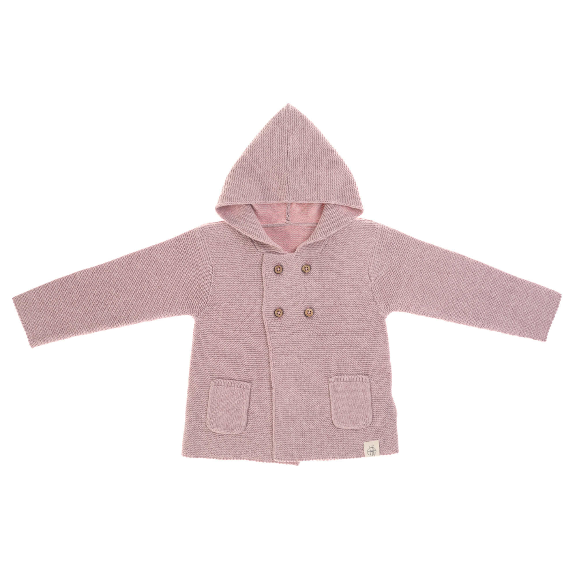 Lässig baby gebeide Hoodie GOTS Garden Explorer light pink 62-68 2-6 mnd