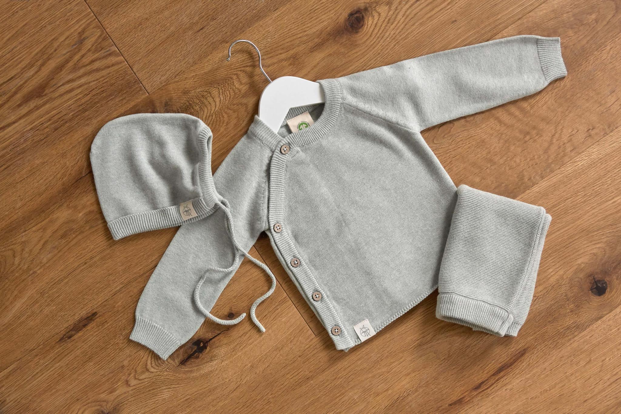Lässig Lässig Baby gestrickt Kimono GOTS Garden Explorer grau 62-68 2-6 Monate