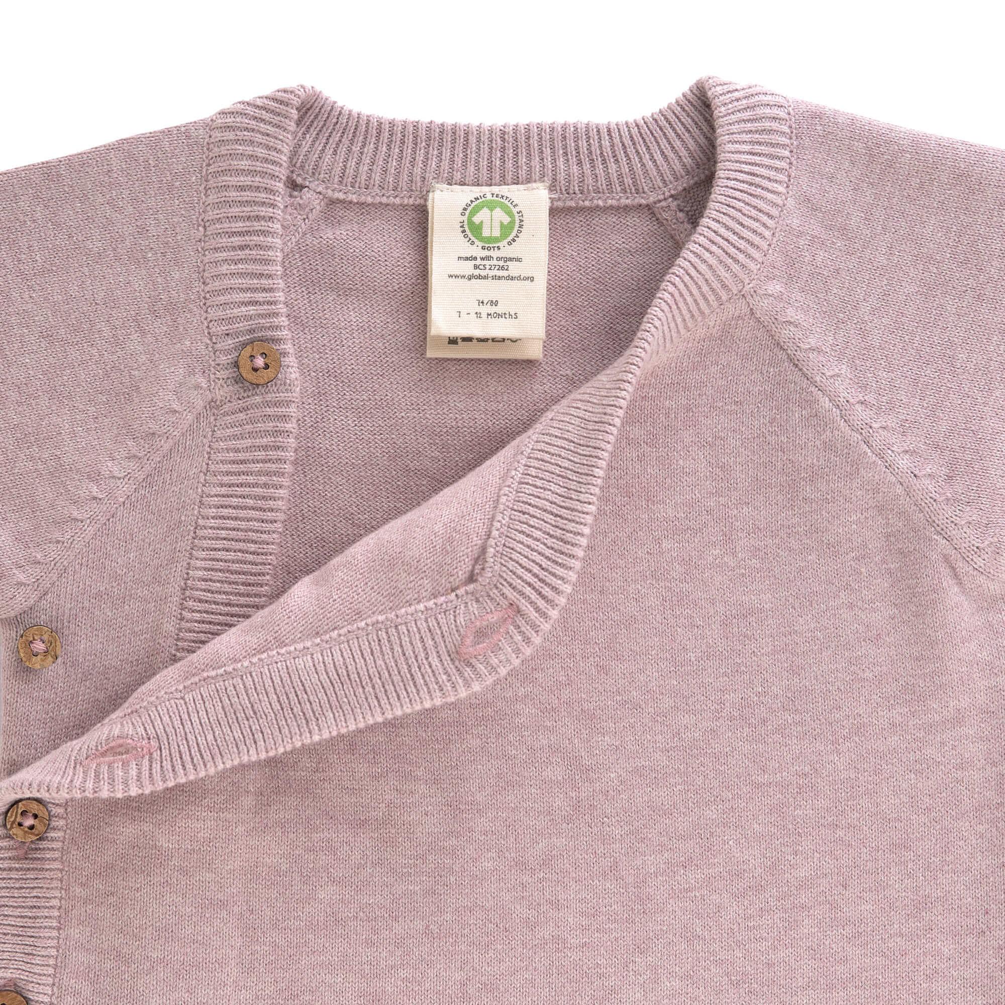 Lässig Lässig baby gebreide Kimono GOTS Garden Explorer light pink 62-68 2-6 mnd