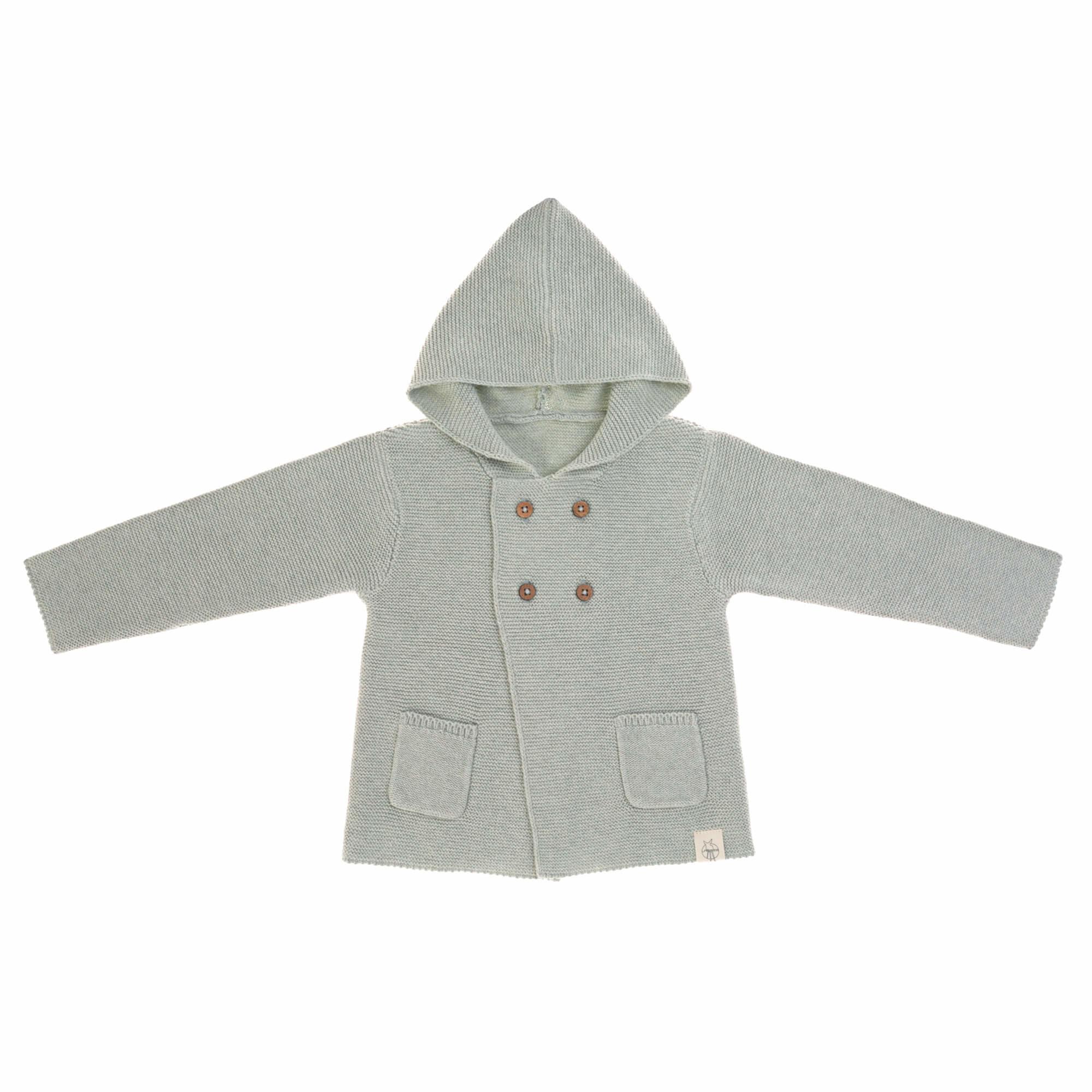 Lässig Baby gebreide hoodie GOTS - Garden Explorer aqua grijs maat 62-68 2-6mnd