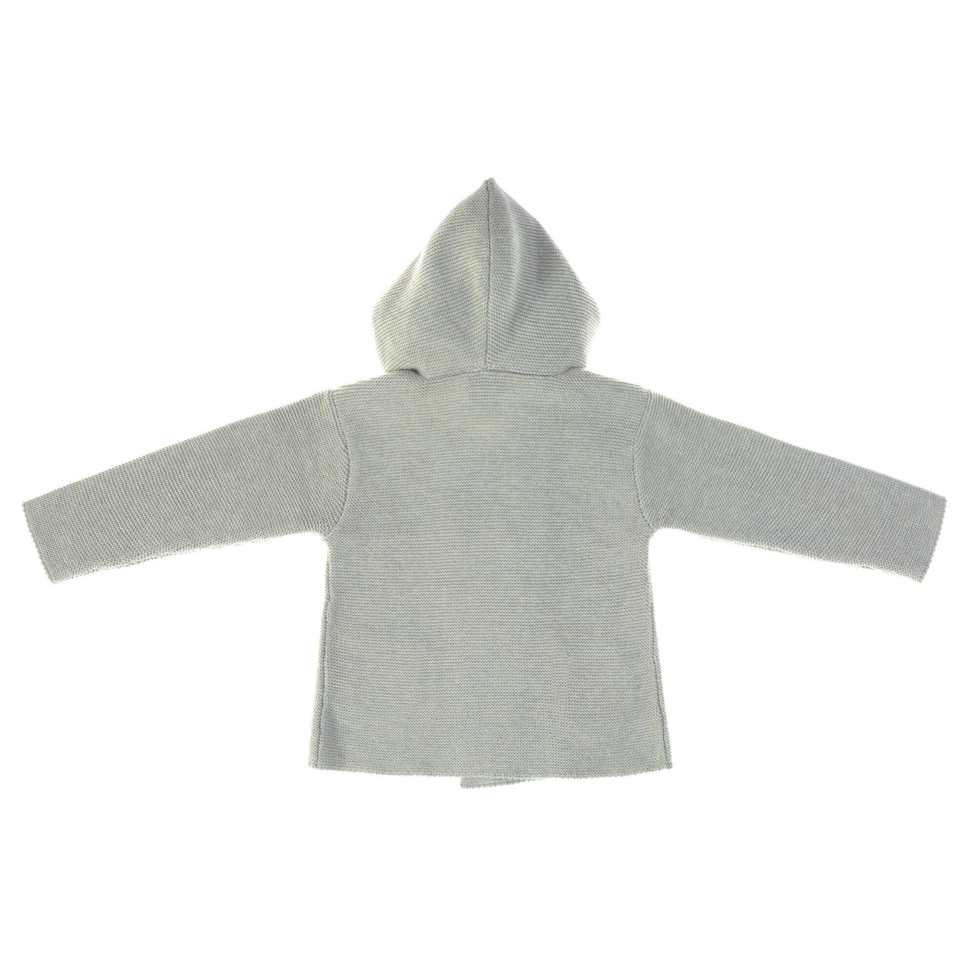 Lässig Lässig Baby gebreide hoodie GOTS - Garden Explorer aqua grijs maat 62-68 2-6mnd