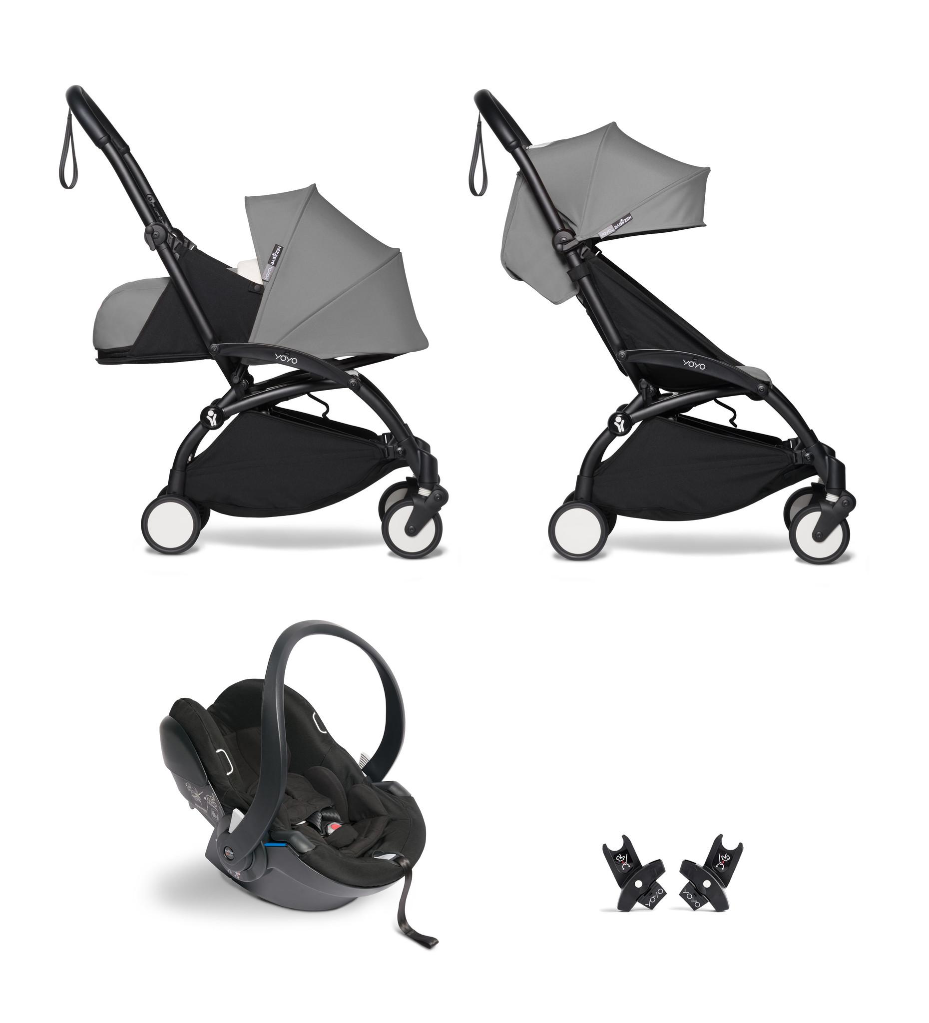 Babyzen YOYO² buggy COMPLEET / FULL SET 0+ and 6+ grijs frame zwart incl. YOYO² BeSafe autostoel zwa