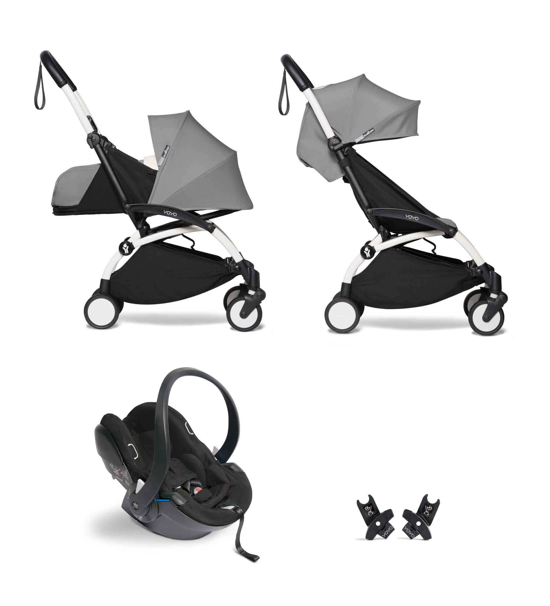 Babyzen YOYO² buggy COMPLEET / FULL SET 0+ and 6+ grijs frame wit incl. YOYO² BeSafe autostoel zwart