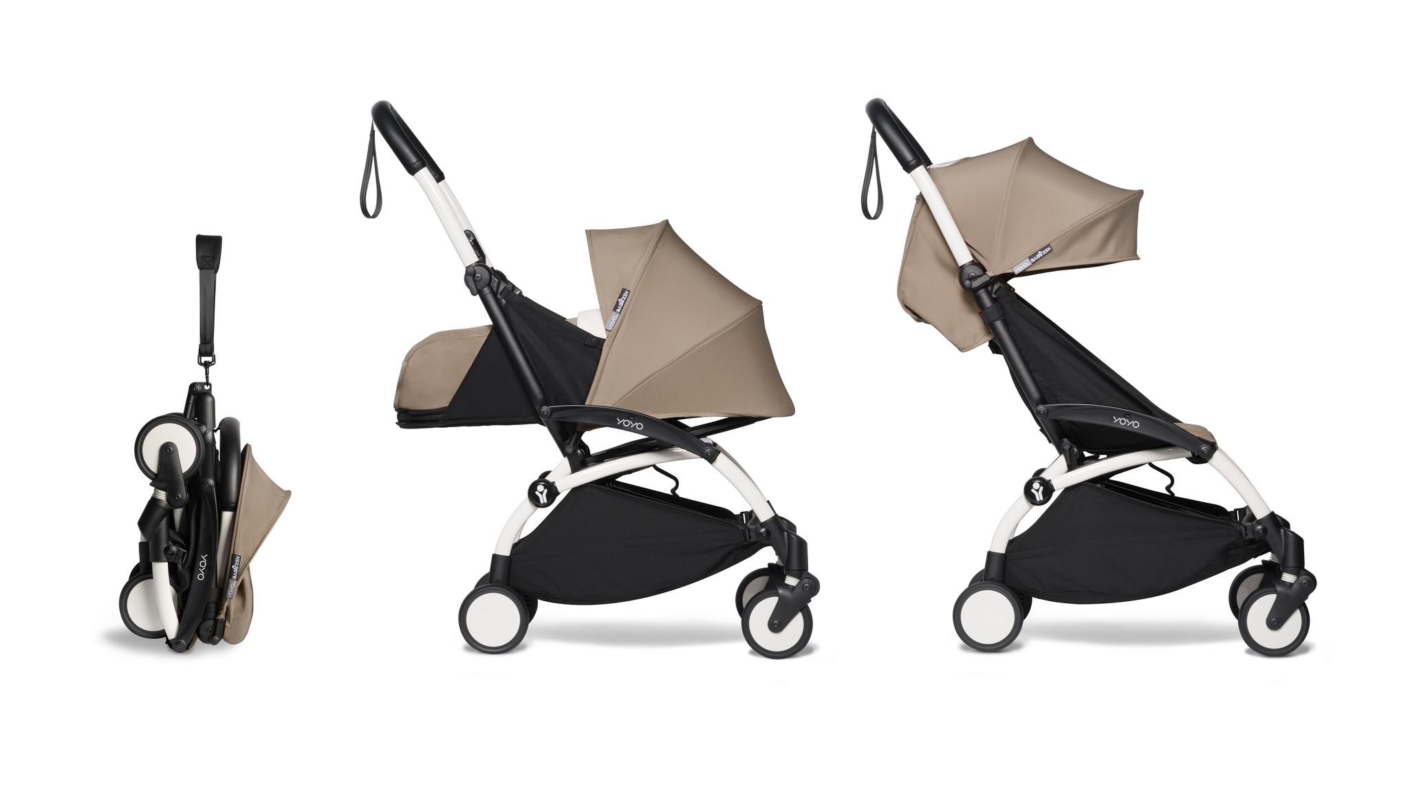 Babyzen Babyzen YOYO² Buggy KOMPLETT / VOLL SET 0+ und 6+ Taupe Rahmen weiß