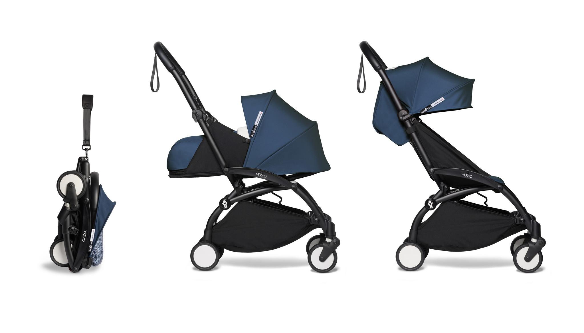 Babyzen YOYO² buggy COMPLEET / FULL SET 0+ and 6+ navy AirFrance frame zwart