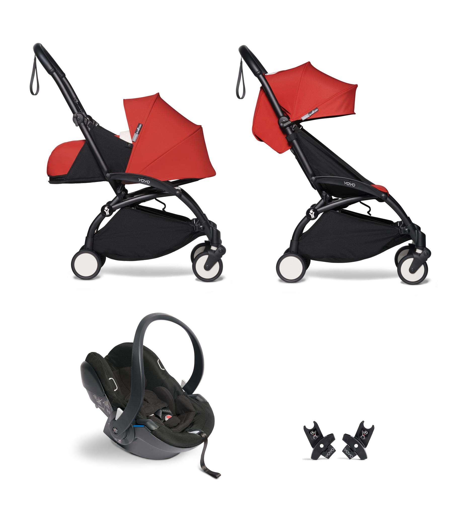 Babyzen Babyzen YOYO² buggy COMPLEET / FULL SET 0+ and 6+ rood frame zwart incl. YOYO² BeSafe autostoel zwart