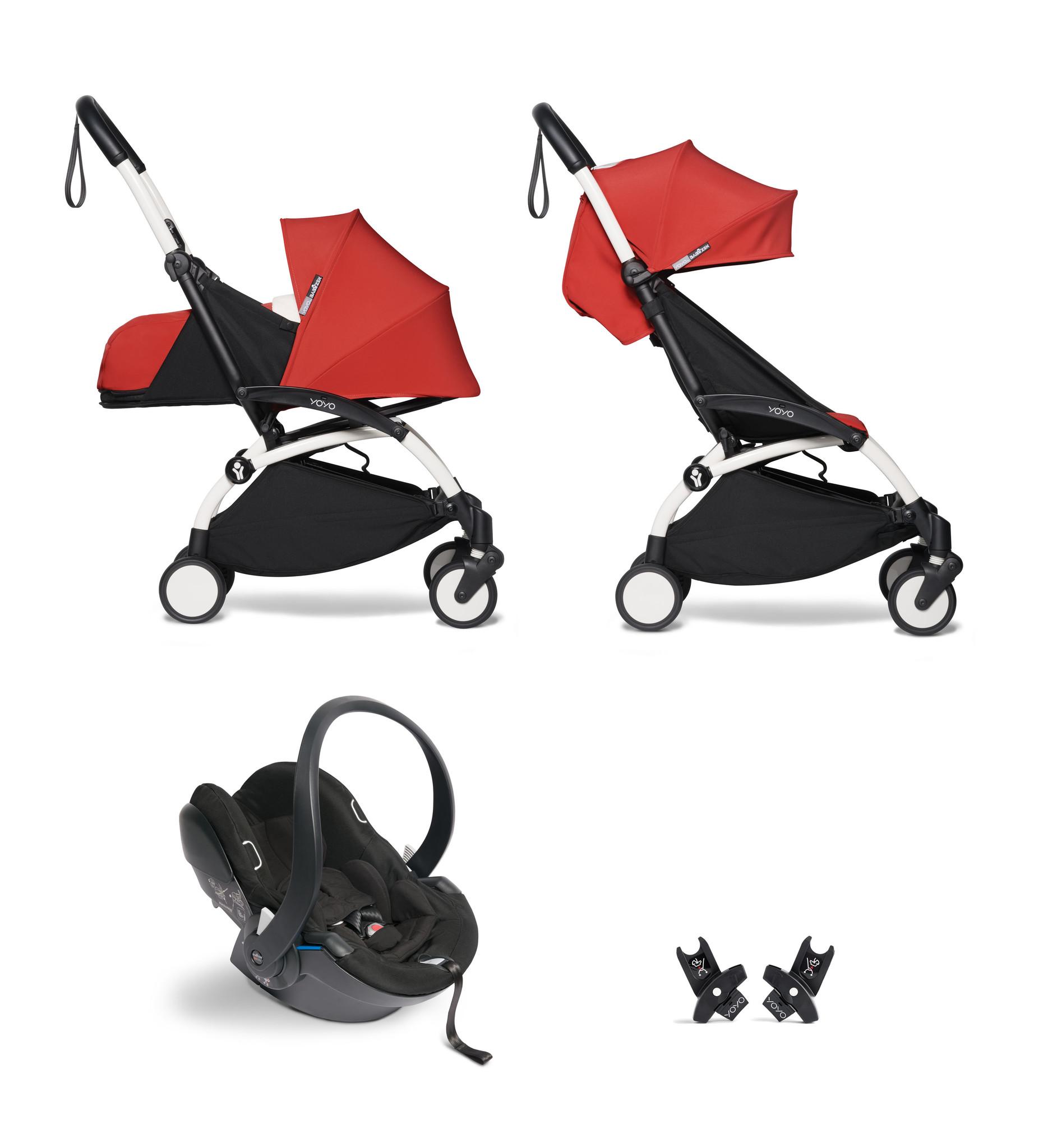 Babyzen YOYO² buggy COMPLEET / FULL SET 0+ and 6+ rood frame wit incl. YOYO² BeSafe autostoel zwart
