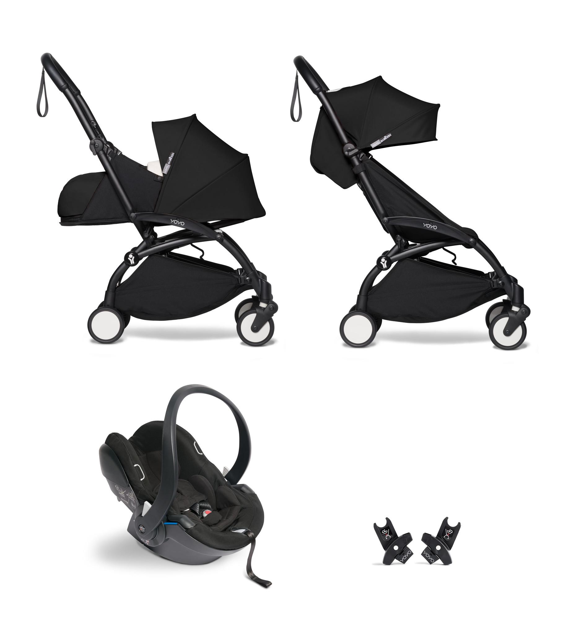 Babyzen YOYO² buggy COMPLEET / FULL SET 0+ and 6+ zwart frame zwart incl. YOYO² BeSafe autostoel zwa