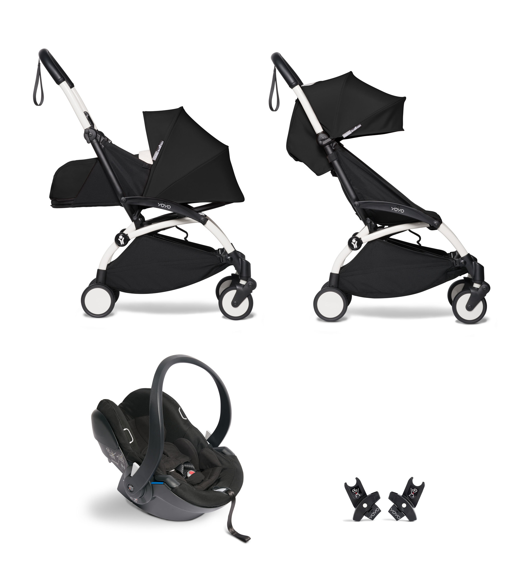 Babyzen YOYO² buggy COMPLEET / FULL SET 0+ and 6+ zwart frame wit incl. YOYO² BeSafe autostoel zwart