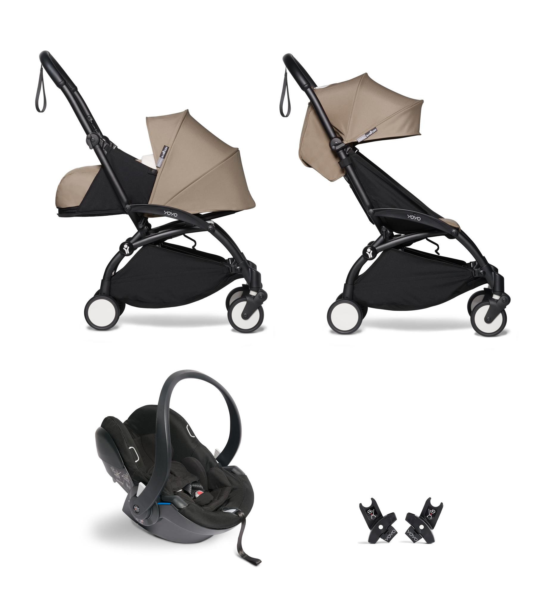 Babyzen YOYO² buggy COMPLEET / FULL SET 0+ and 6+ taupe frame zwart incl. YOYO² BeSafe autostoel zwa