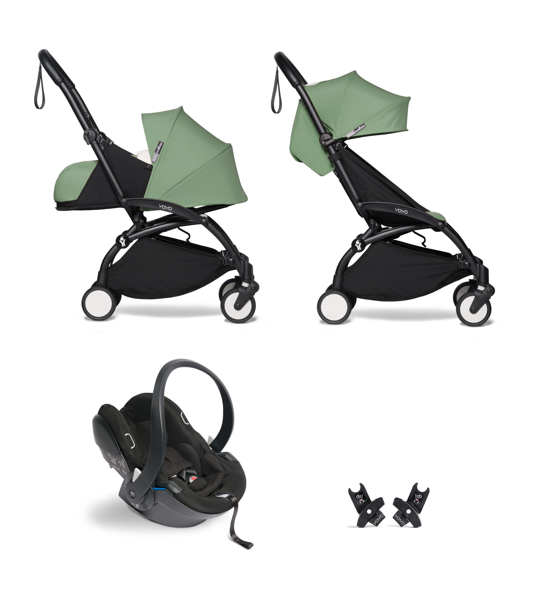 Babyzen Babyzen YOYO² buggy COMPLEET / FULL SET 0+ and 6+ peppermint frame zwart incl. YOYO² BeSafe autostoel zwart