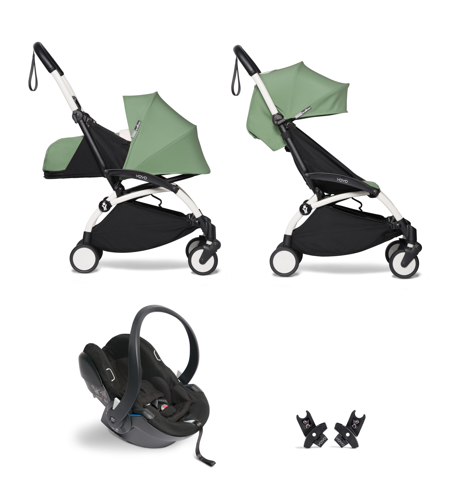 Babyzen Babyzen YOYO² buggy COMPLEET / FULL SET 0+ and 6+ peppermint frame wit incl. YOYO² BeSafe autostoel zwart