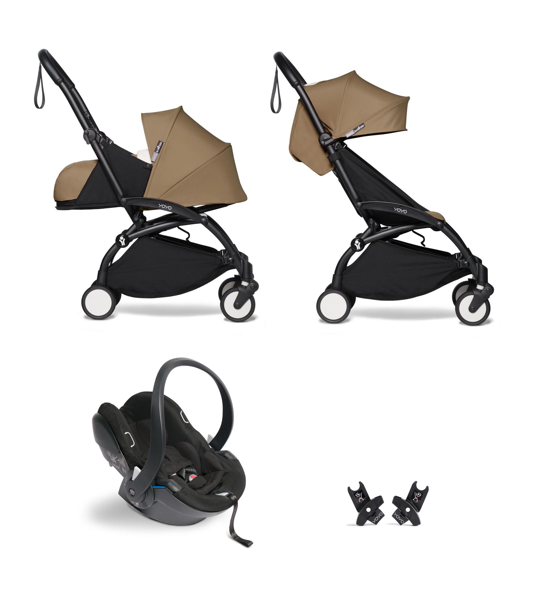 Babyzen Babyzen YOYO² buggy COMPLEET / FULL SET 0+ and 6+ toffee frame zwart incl. YOYO² BeSafe autostoel zwart