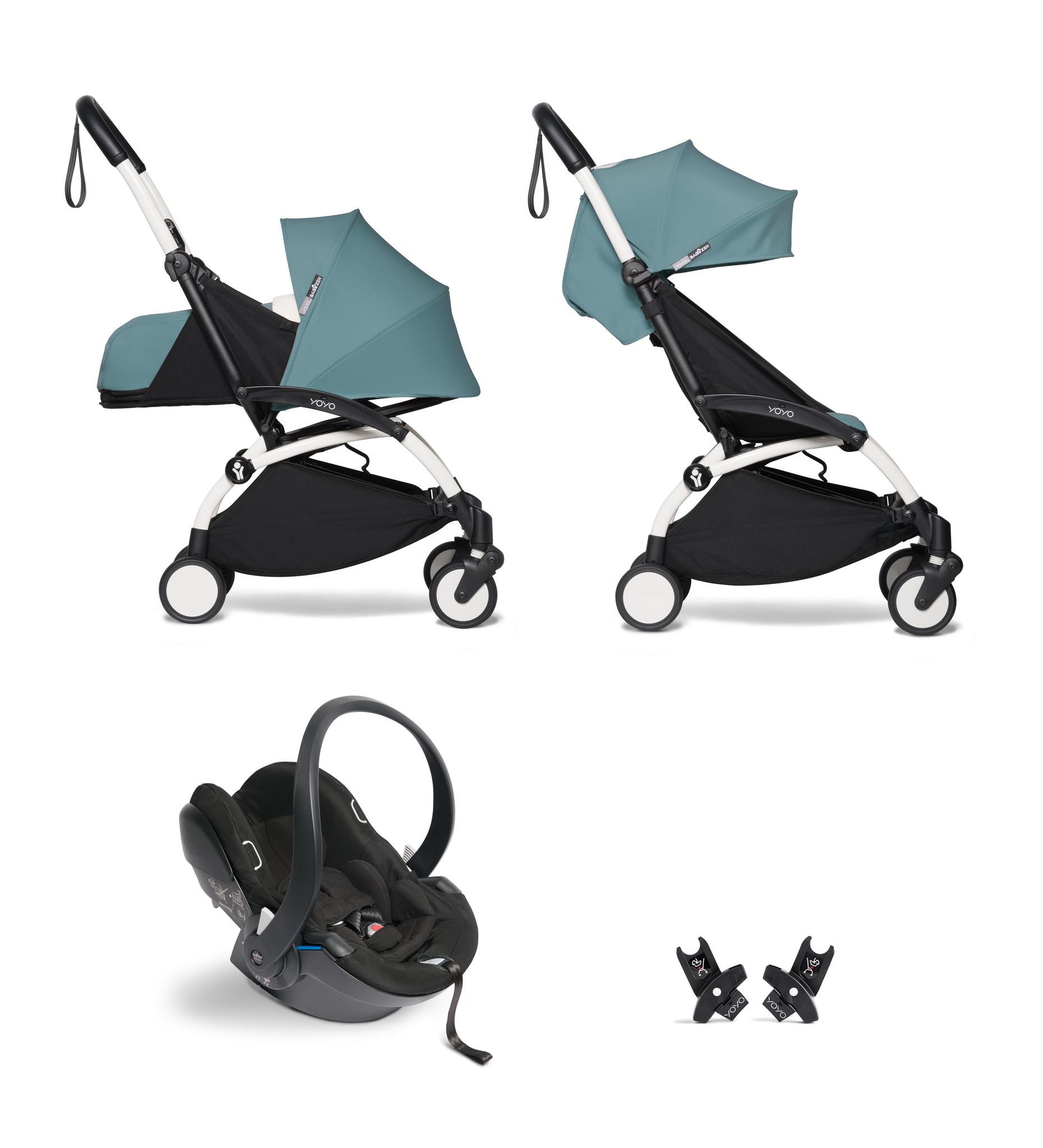Babyzen YOYO² buggy COMPLEET - FULL SET 0+ and 6+ aqua frame wit incl. YOYO² BeSafe autostoel zwart