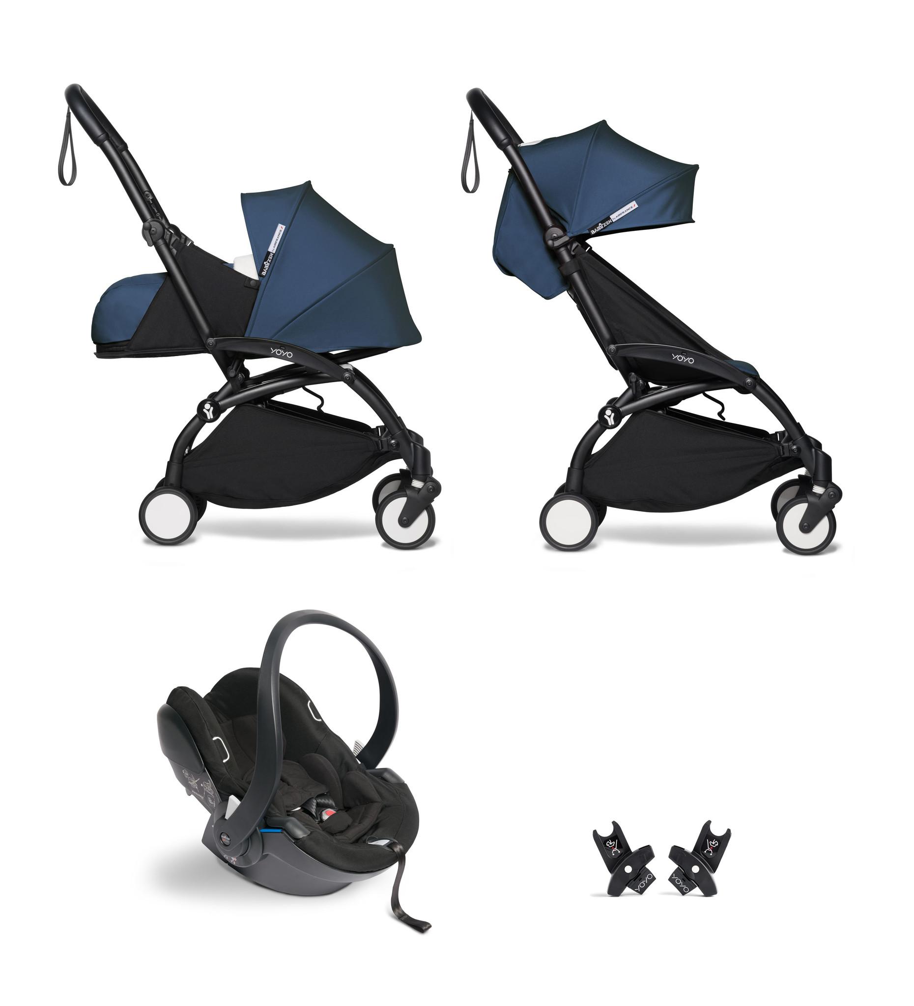 Babyzen YOYO² buggy COMPLEET / FULL SET 0+ and 6+ navy AirFrance frame zwart incl. YOYO² BeSafe auto