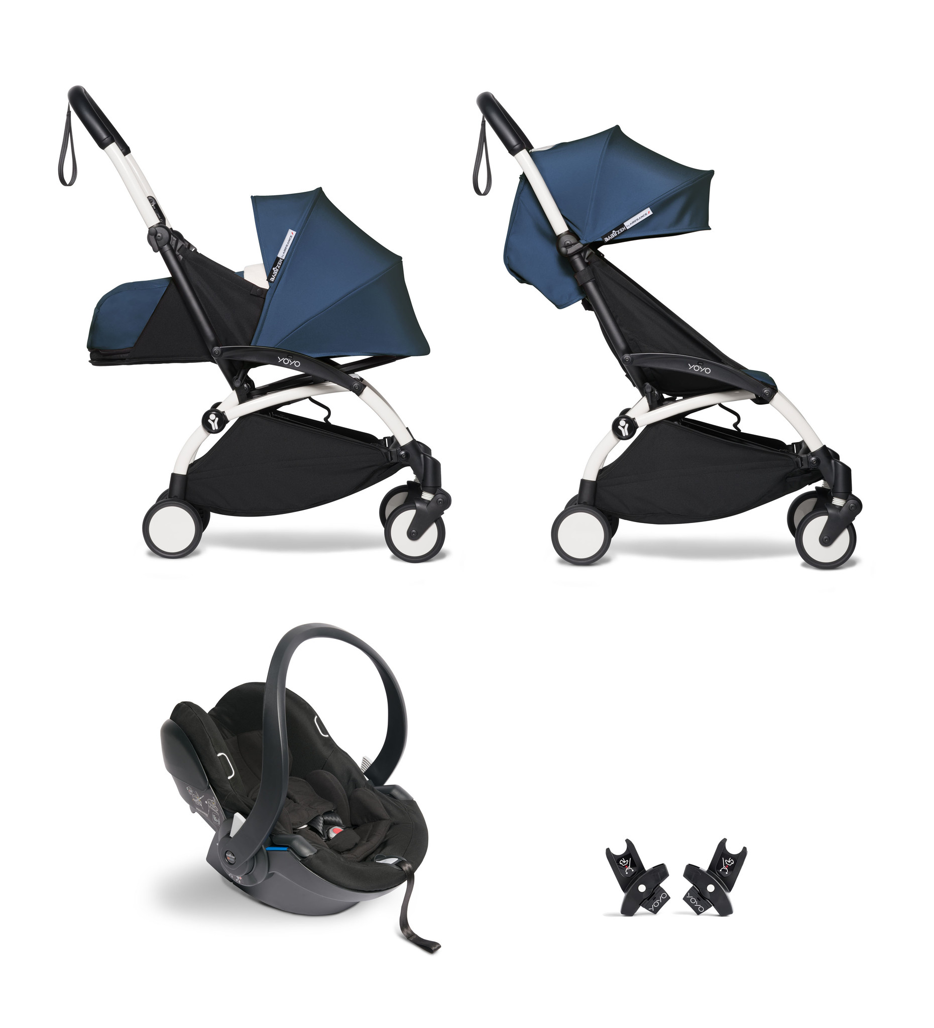 Babyzen Babyzen YOYO² Buggy KOMPLETT / VOLL SET 0+ und 6+ Navy AirFrance Rahmen weiß inkl. YOYO² BeSafe Autositz schwarz