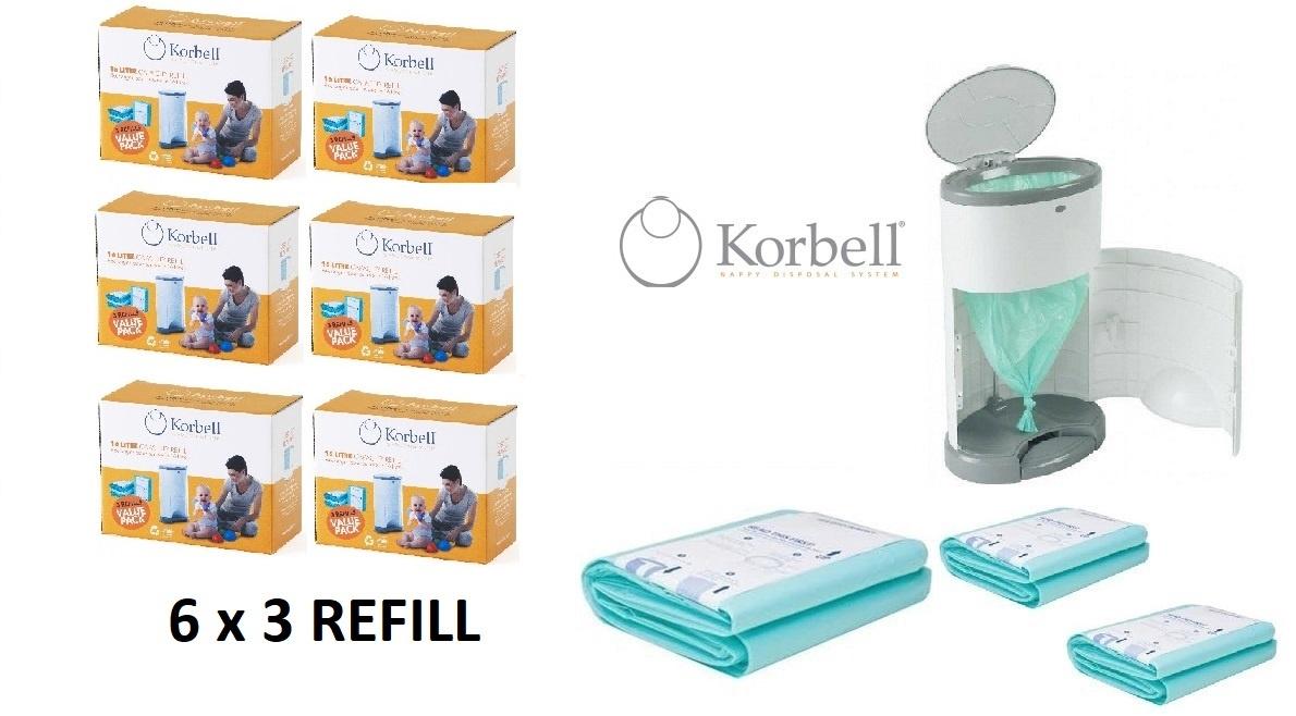 Korbell Korbell Windeleimer Nachfüllung - 15L Beutel - 6 x 3 Stück