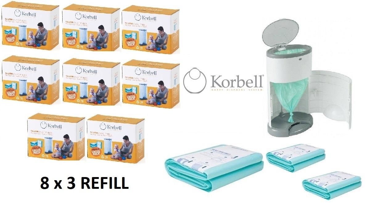 Korbell Korbell Windel Eimer Nachfüllung - 15L Beutel - 8 x 3 Stück