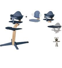 Nomi NOMI Hochstuhl: Ideales Set ab 6 Monaten mit Sockel mit Wachstumsstuhl, Sitzkissen, Halterung, Tablett und Gurtzeug - Sockel aus Eiche weiß geölt, Stuhl Navy