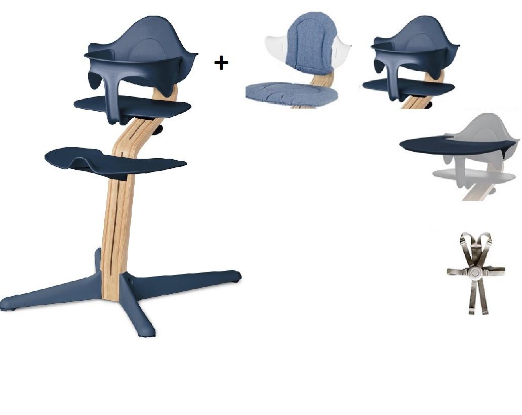 Nomi NOMI highchair: ideale set vanaf 6 maanden met Basis met Meegroeistoel, Zitkussen, Beugel, Tray