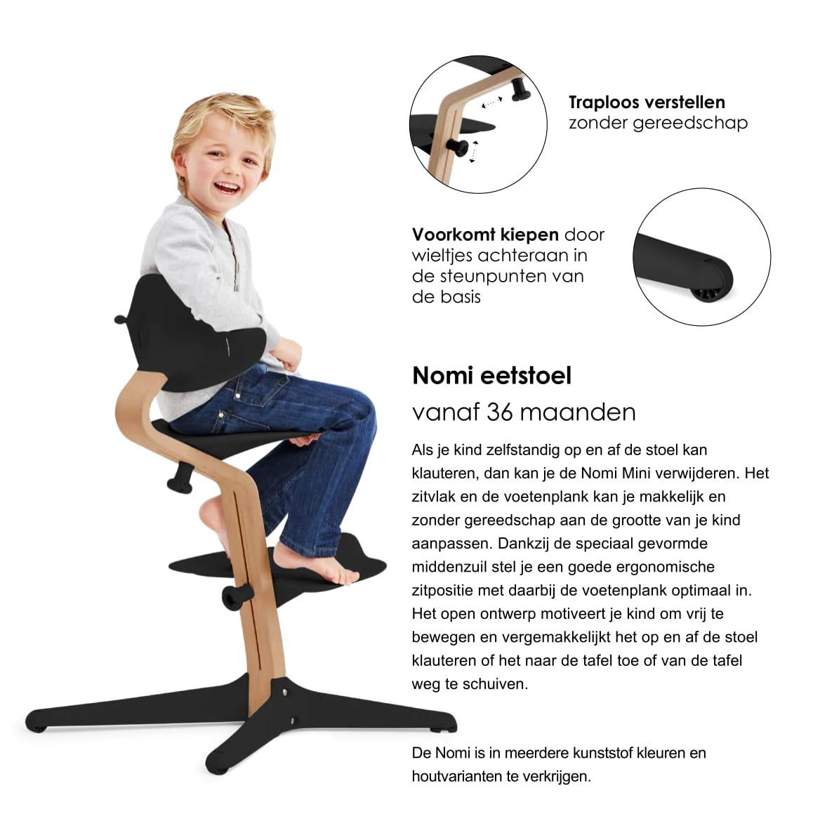 Nomi NOMI highchair: de meest complete meegroeistoel met Basis met stoel, Zitkussen, Beugel, Tray, Wipper incl. matrasje, Harnas en Speelboog - Basis eiken wit oiled, stoel Navy