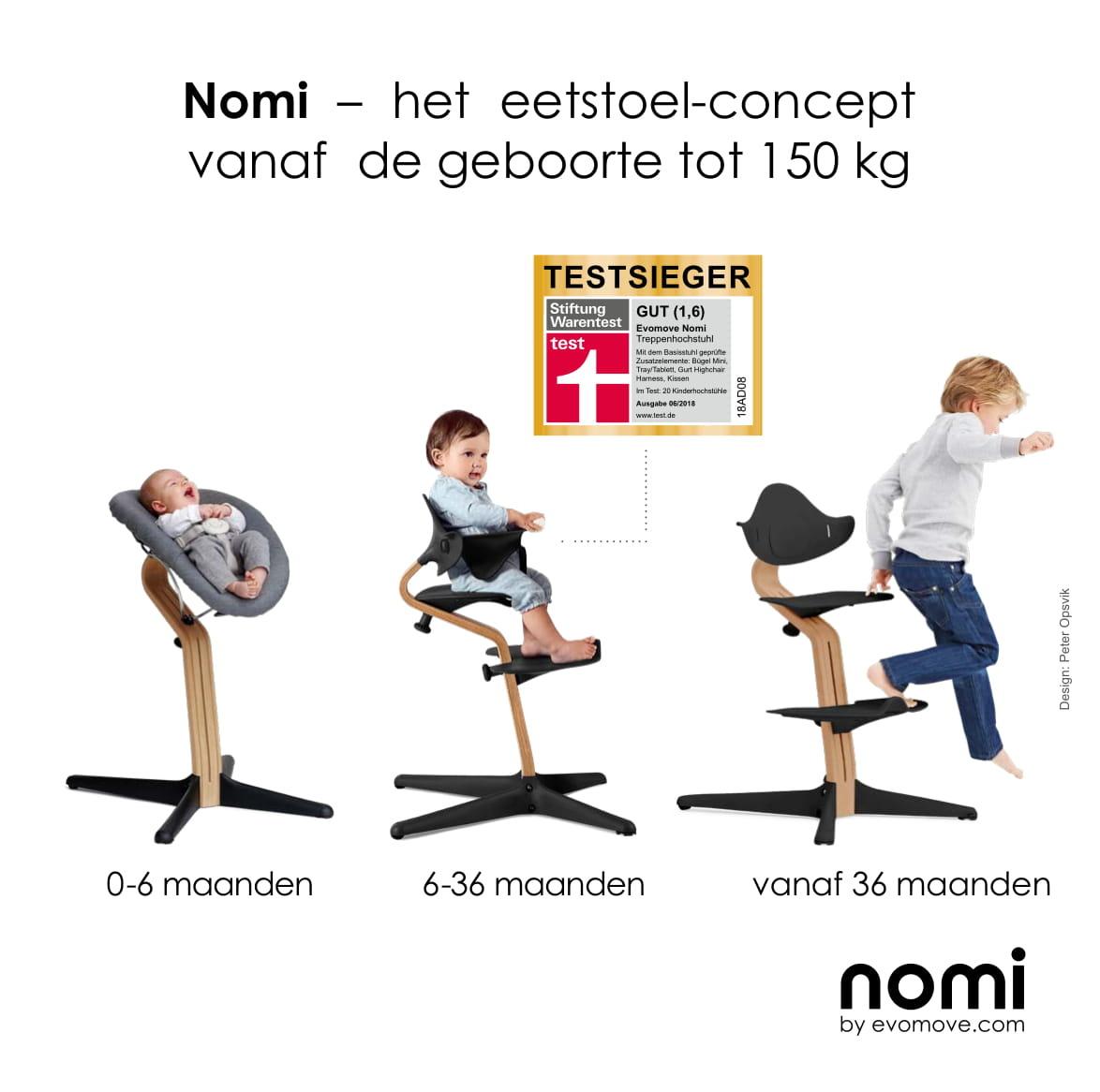 Nomi NOMI Hochstuhl: Der vollständigste Wachstumsstuhl mit Sockel mit Stuhl, Sitzkissen, Halterung, Tablett, Wipper inkl. Matratze, Geschirr und Spielbogen - Eiche weiß geölt, Stuhl Burned Orange