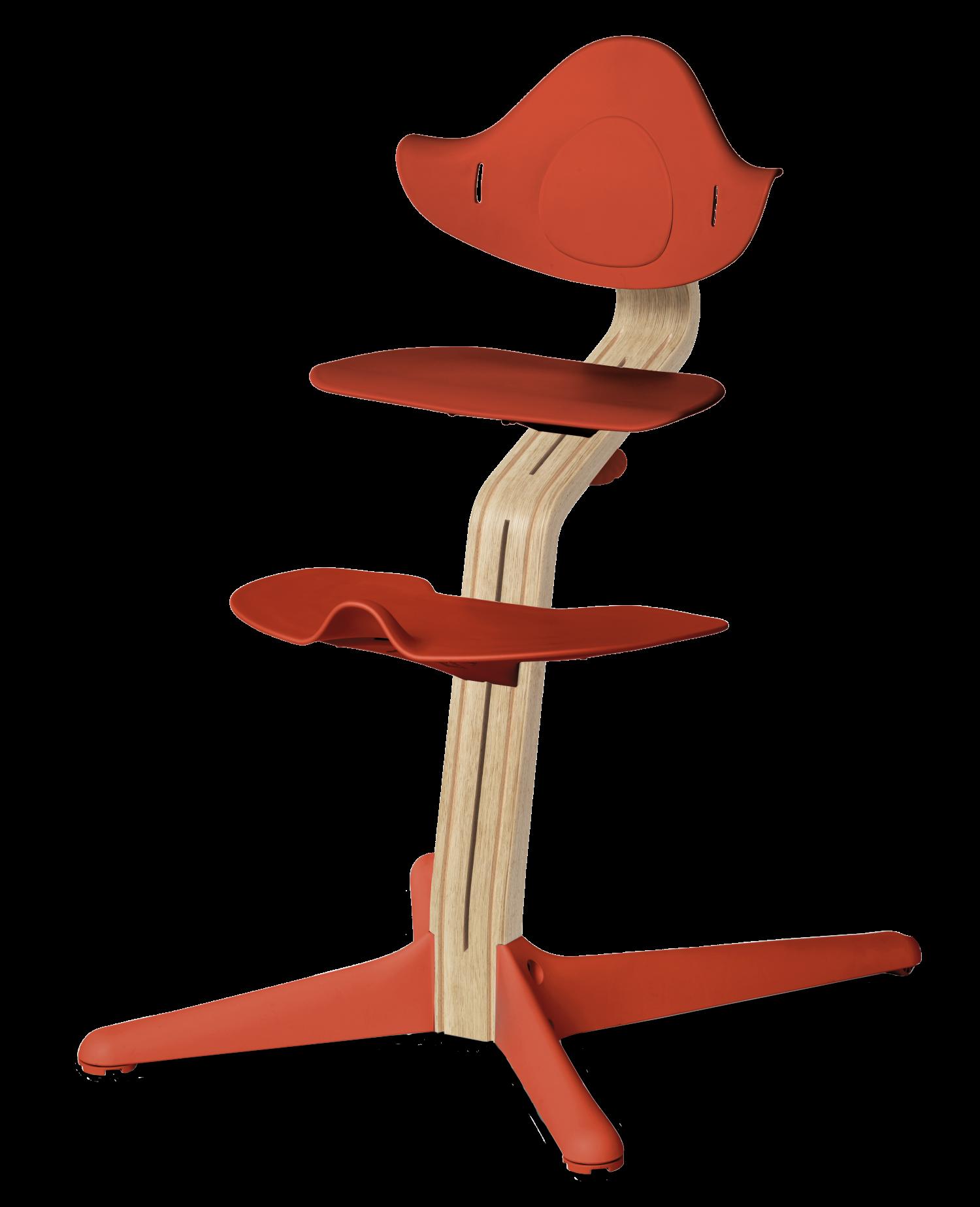 NOMI highchair meegroeistoel Basis eiken wit oiled en stoel Burned orange