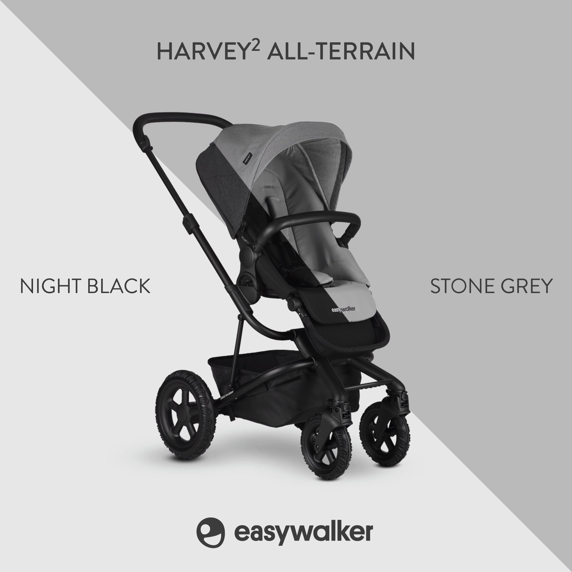 Easywalker Easywalker Harvey² All Terrain Kinderwagen + Carrycot Stone Grey