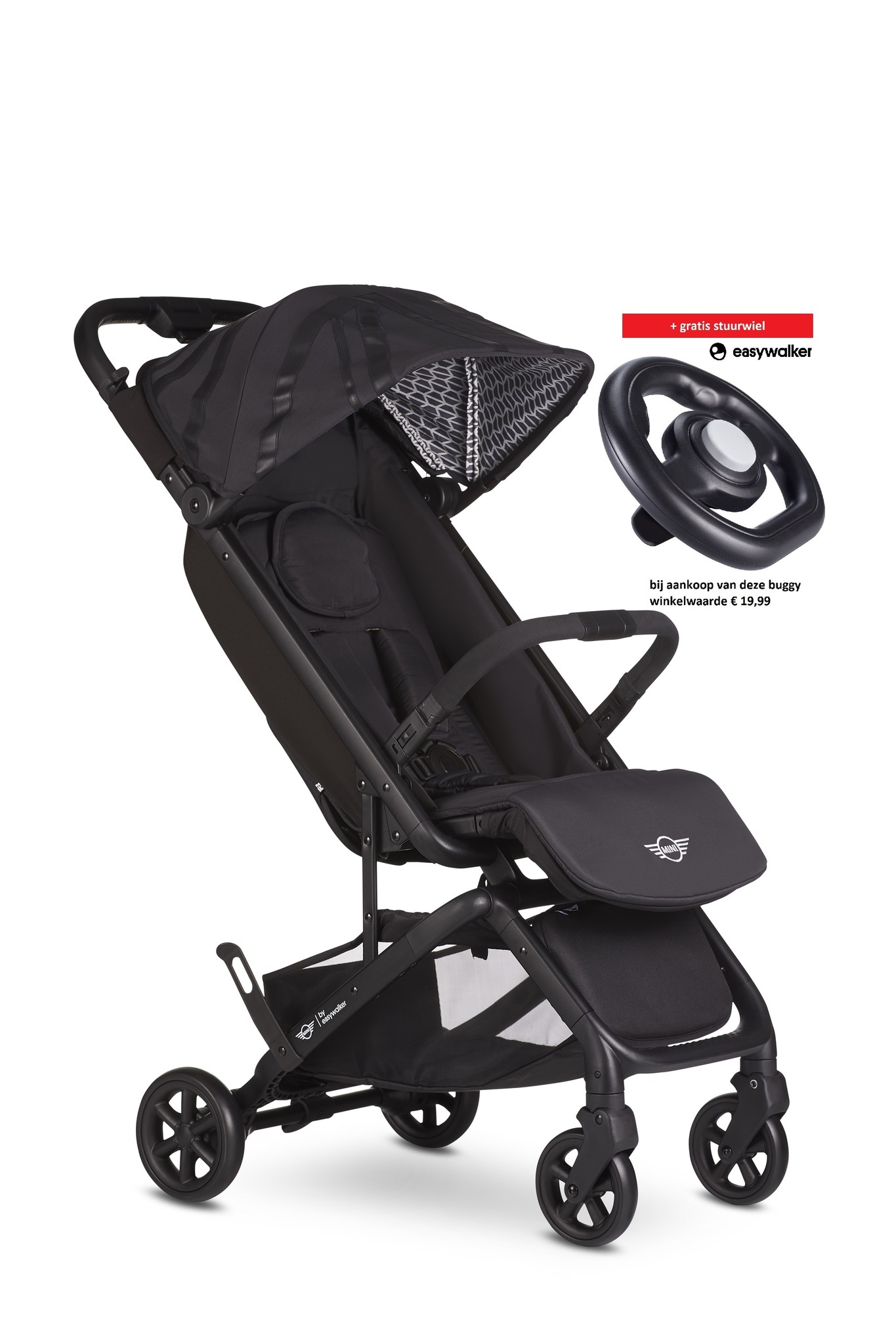 Easywalker MINI by Easywalker Buggy GO Oxford Black nu met gratis stuurwiel!