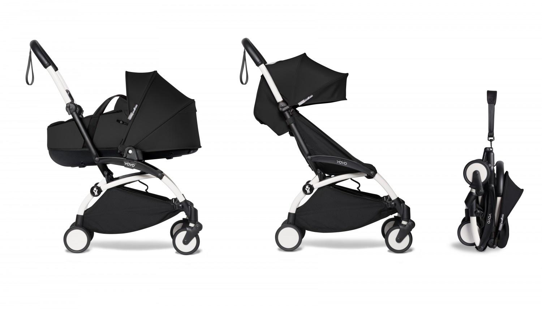 Babyzen Babyzen YOYO² weißer Rahmen mit YOYO Stubenwagen - Tragetasche 0+ und Colorpack 6+ beide in schwarz