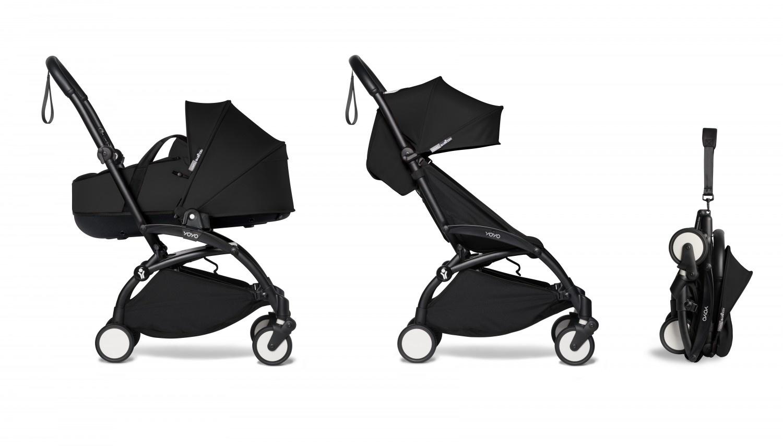 Babyzen Babyzen YOYO² schwarzer Rahmen mit YOYO Stubenwagen - Tragetasche 0+ und Colorpack 6+ beide in schwarz