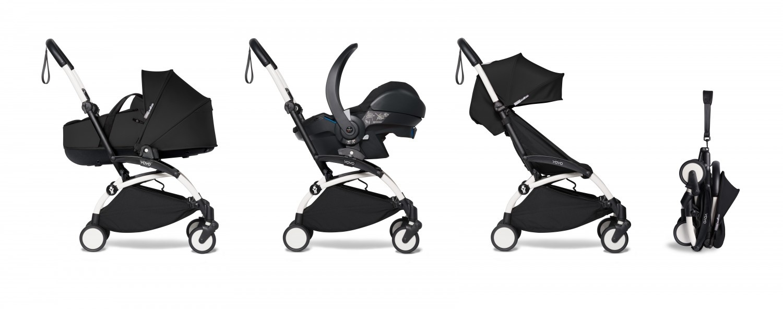 Babyzen YOYO² wit frame met YOYO Bassinet - reiswieg 0+ én Colorpack 6+ - Black incl. YOYO car seat