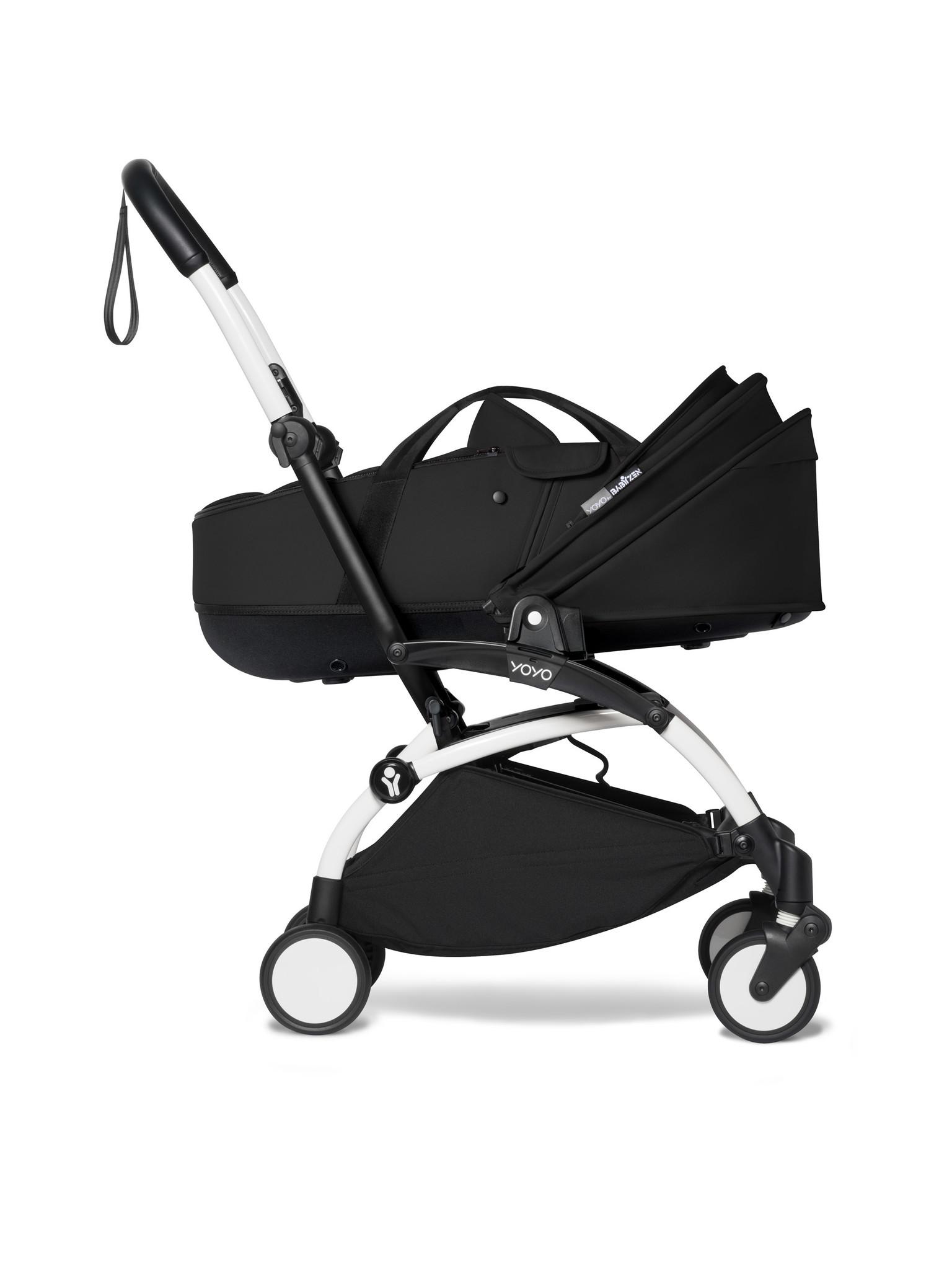 Babyzen Babyzen YOYO² weißer Rahmen mit YOYO Stubenwagen - Tragetasche 0+ und Colorpack 6+ - Schwarz inkl. YOYO Autositz von BeSafe