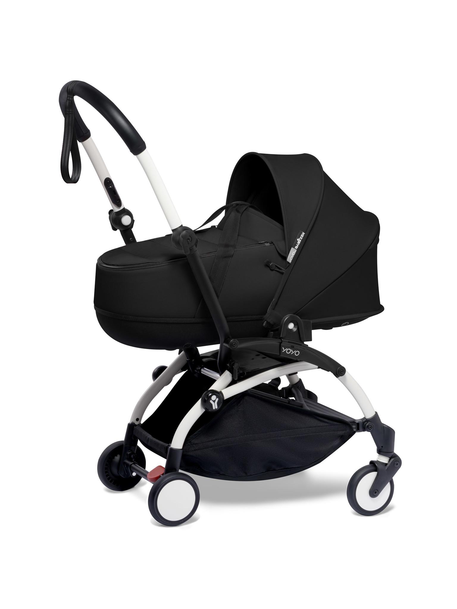 Babyzen Babyzen YOYO² wit frame met YOYO Bassinet - reiswieg 0+ én Colorpack 6+ - Black incl. YOYO car seat by BeSafe