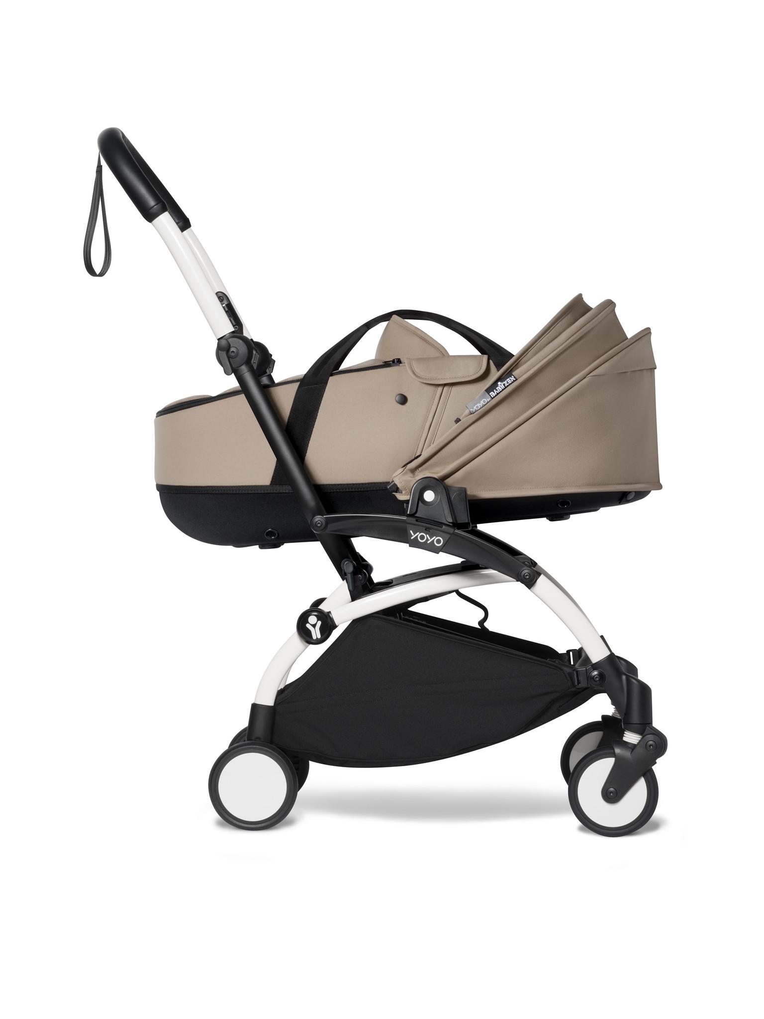 Babyzen Babyzen YOYO² weißer Rahmen mit YOYO Stubenwagen - Tragetasche - Taupe
