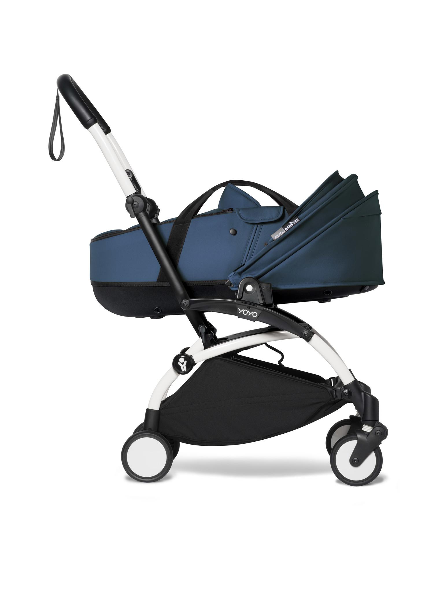 Babyzen Babyzen YOYO² weißer Rahmen mit YOYO Stubenwagen - Tragetasche - Marineblau