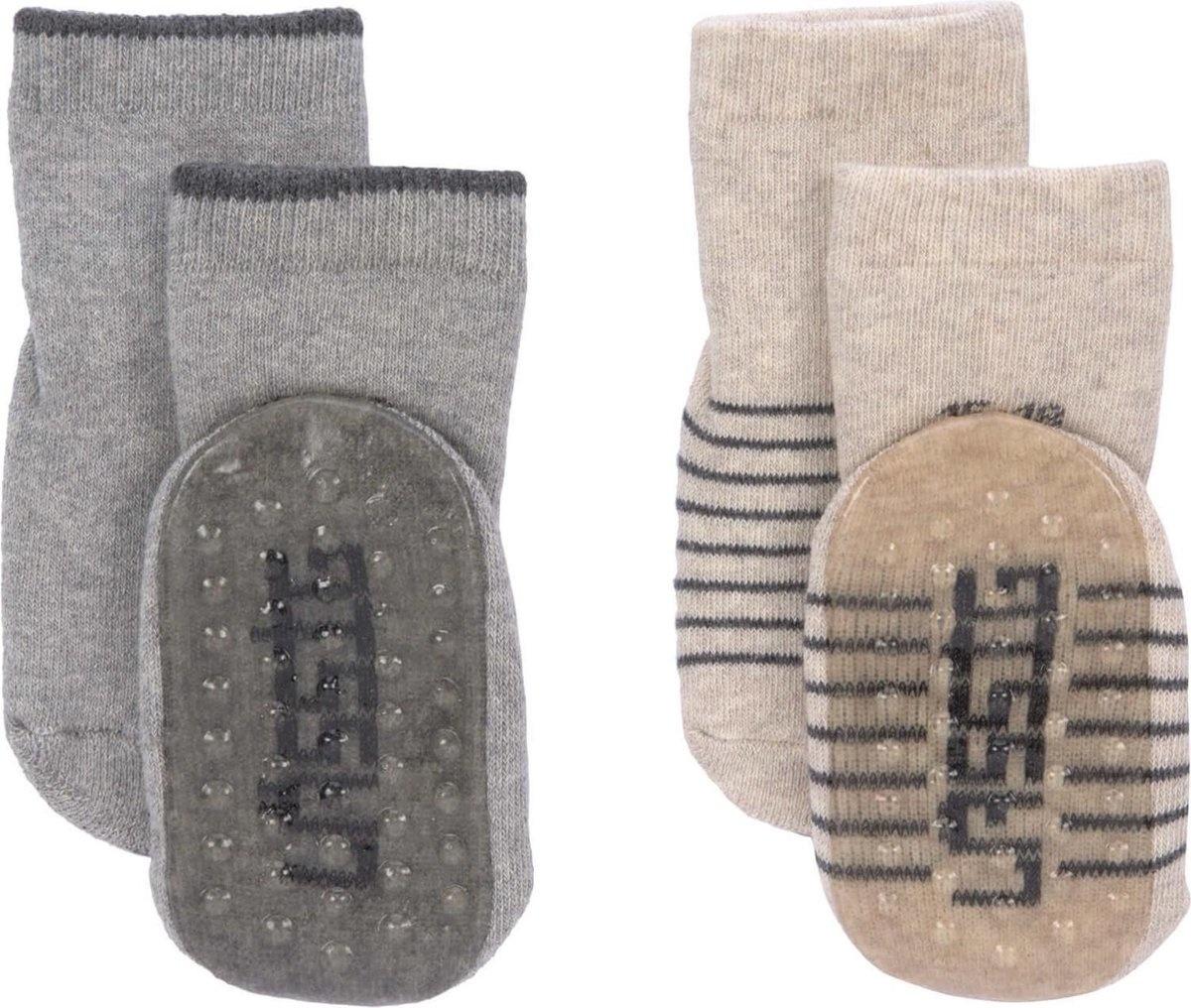 Lässig Anti-slip sokjes 2 paar assorted grey/beige, Maat 27-30