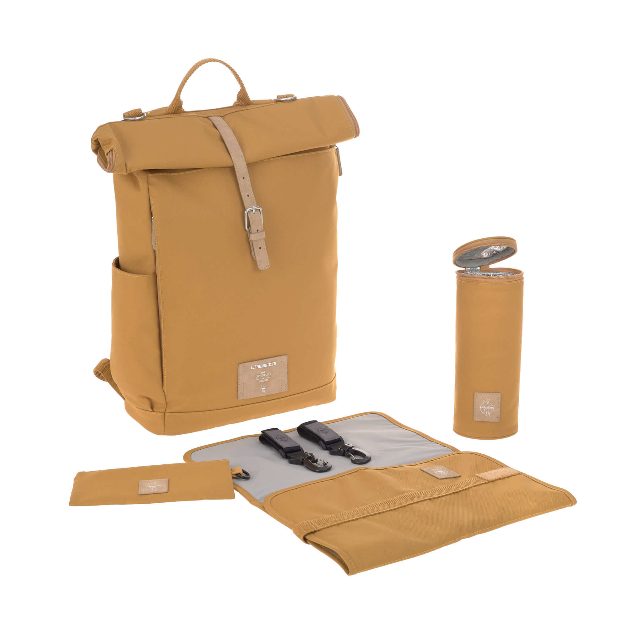 LÄSSIG Luiertas Rolltop Backpack incl. verschoningsmatje - curry