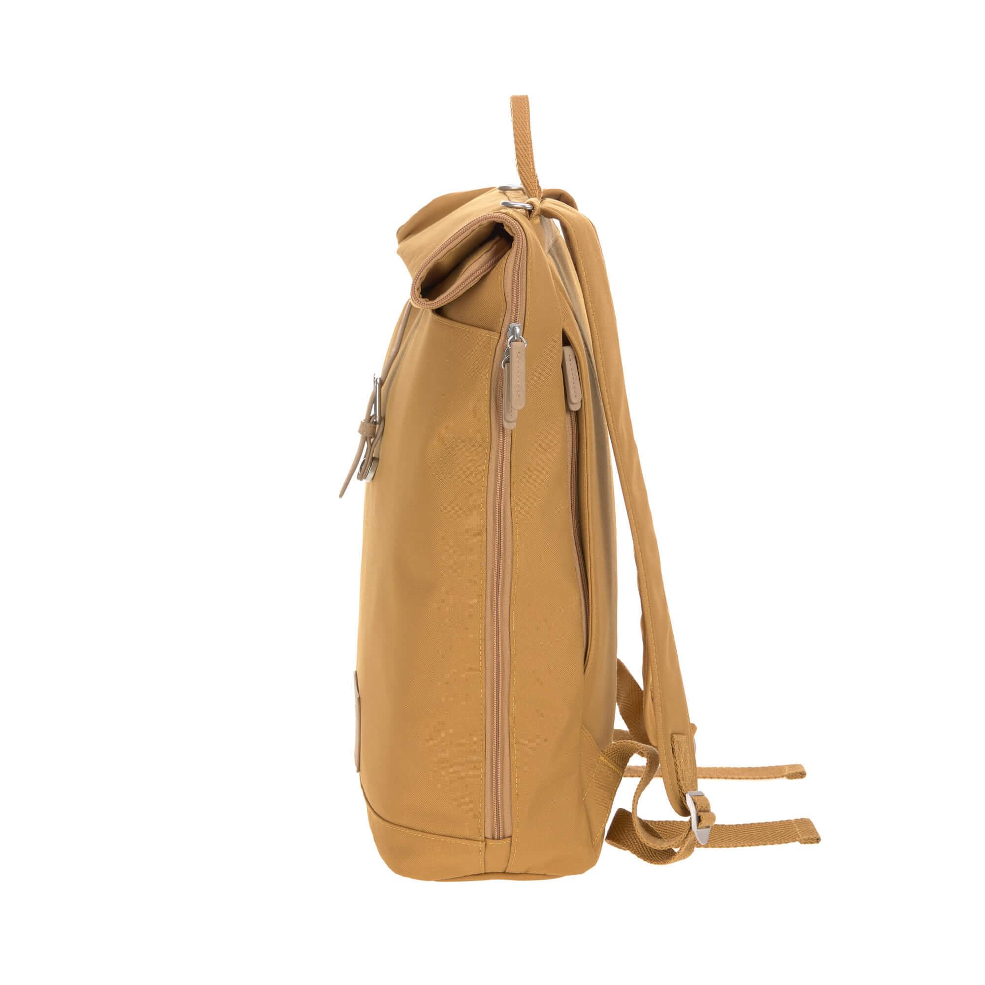 Lässig LÄSSIG Luiertas Rolltop Backpack incl. verschoningsmatje - curry