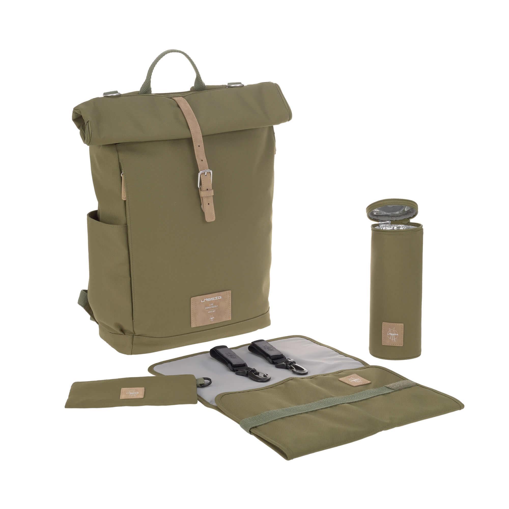 LÄSSIG Luiertas Rolltop Backpack incl. verschoningsmatje - olive