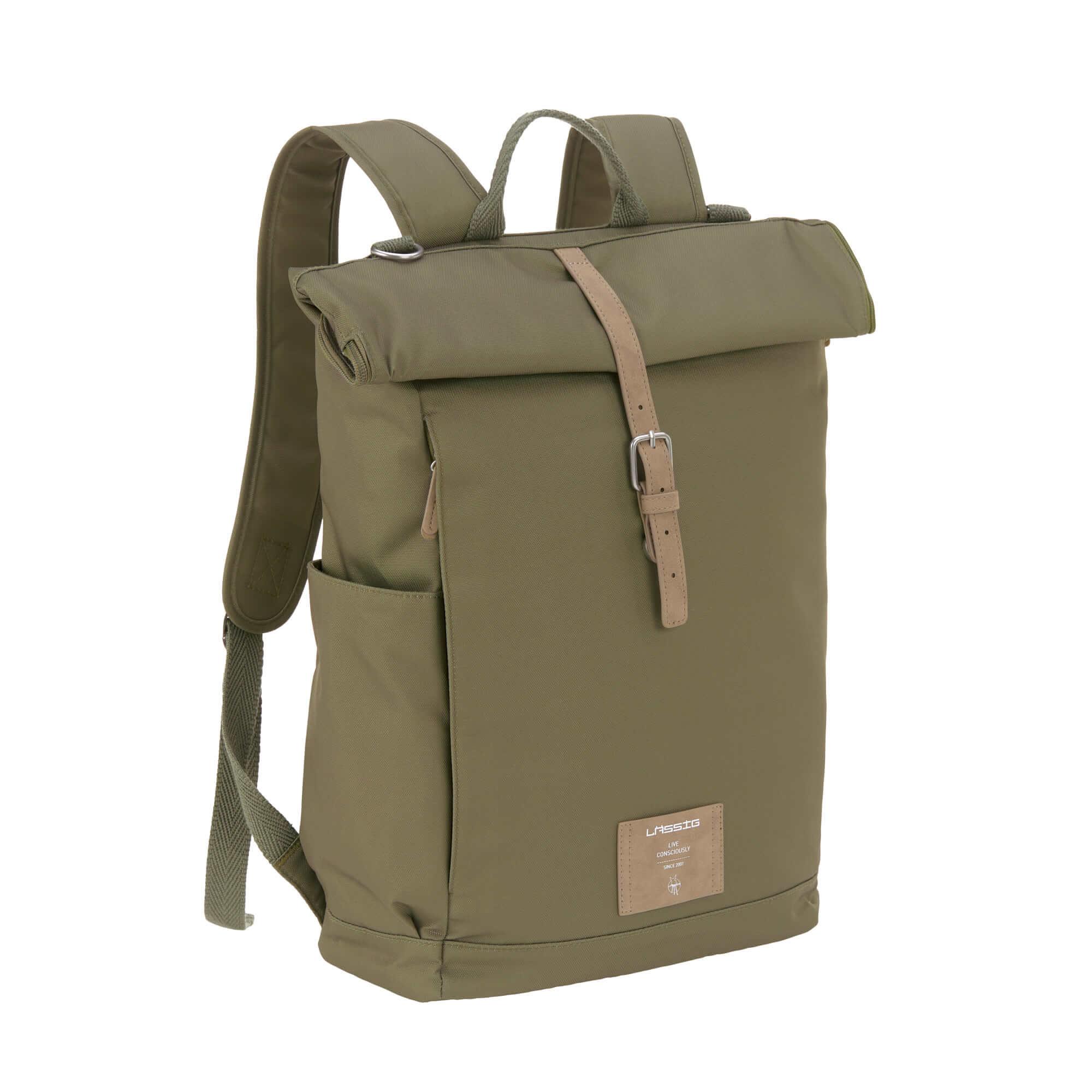 Lässig LÄSSIG Luiertas Rolltop Backpack incl. verschoningsmatje - olive