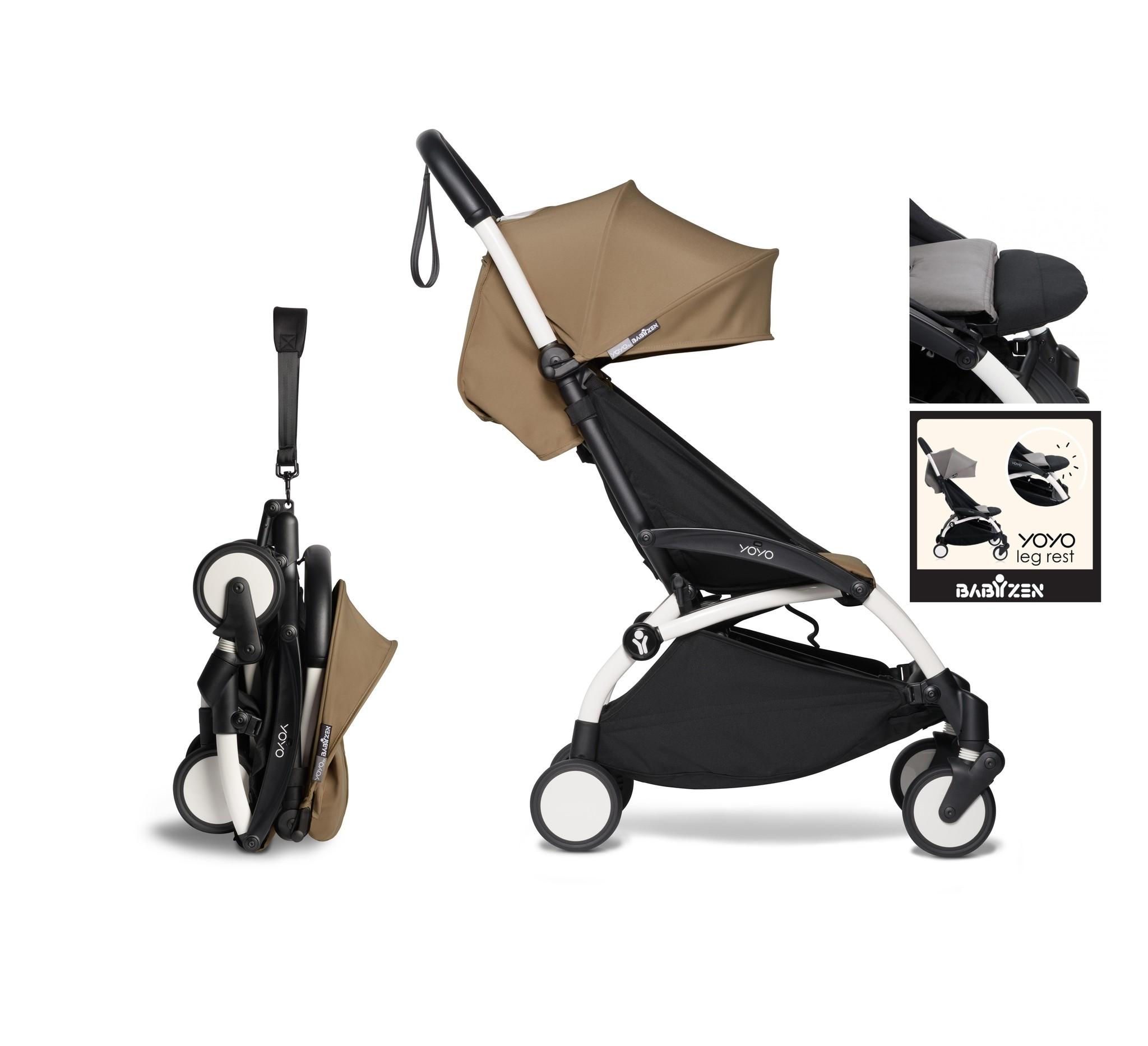 Babyzen YOYO² buggy vanaf 6 maanden inclusief beensteun - toffee met frame wit