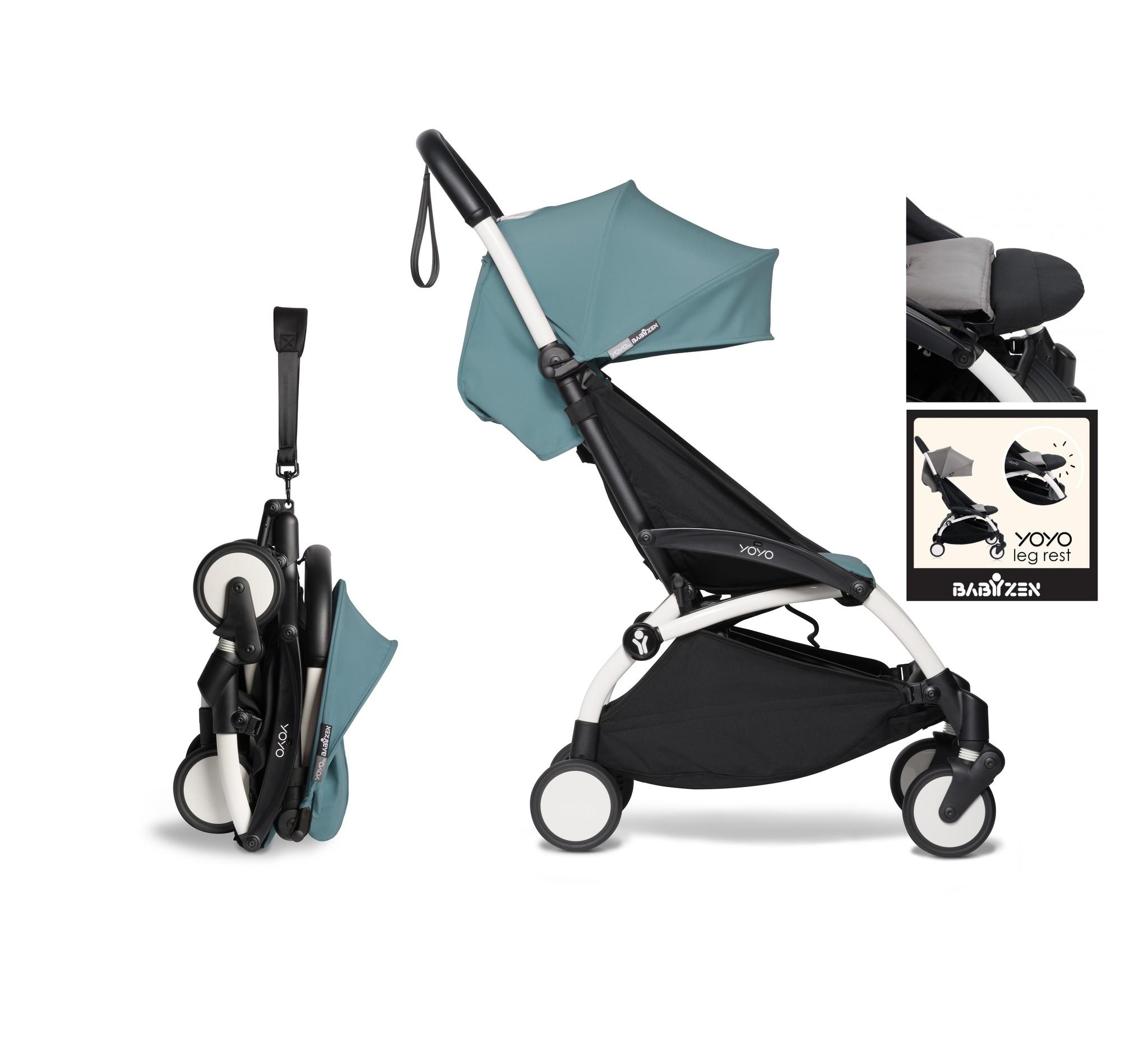 Babyzen YOYO² buggy vanaf 6 maanden inclusief beensteun - aqua met frame wit