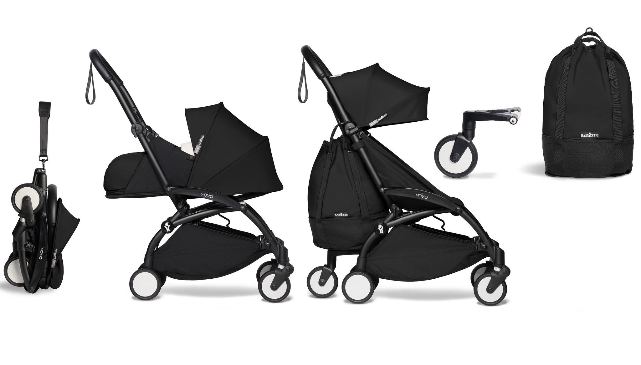 Babyzen YOYO² buggy COMPLEET vanaf de geboorte en inclusief YOYO Bag - zwart met frame zwart