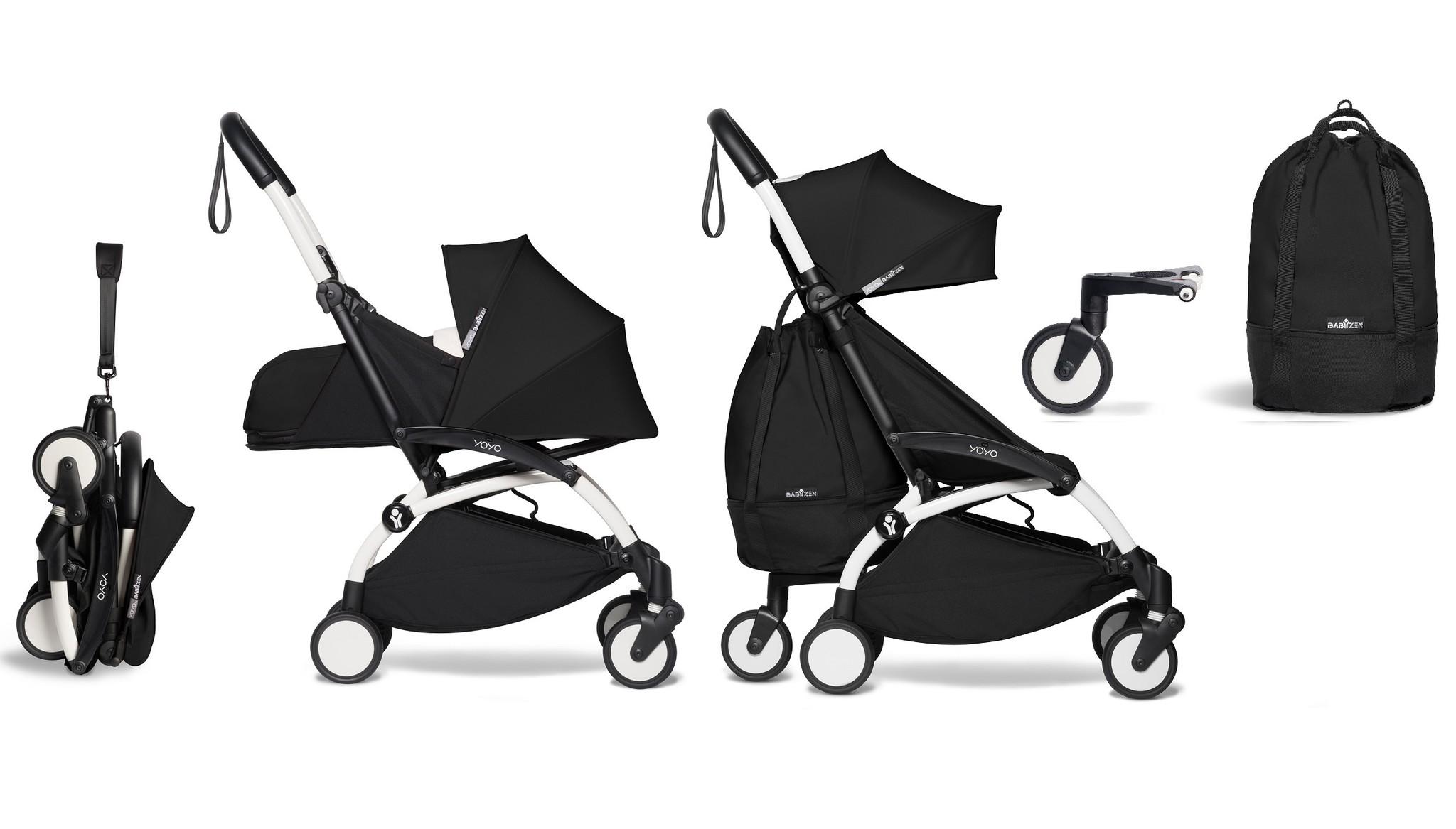 Babyzen YOYO² buggy COMPLEET vanaf de geboorte en inclusief YOYO Bag - zwart met frame wit