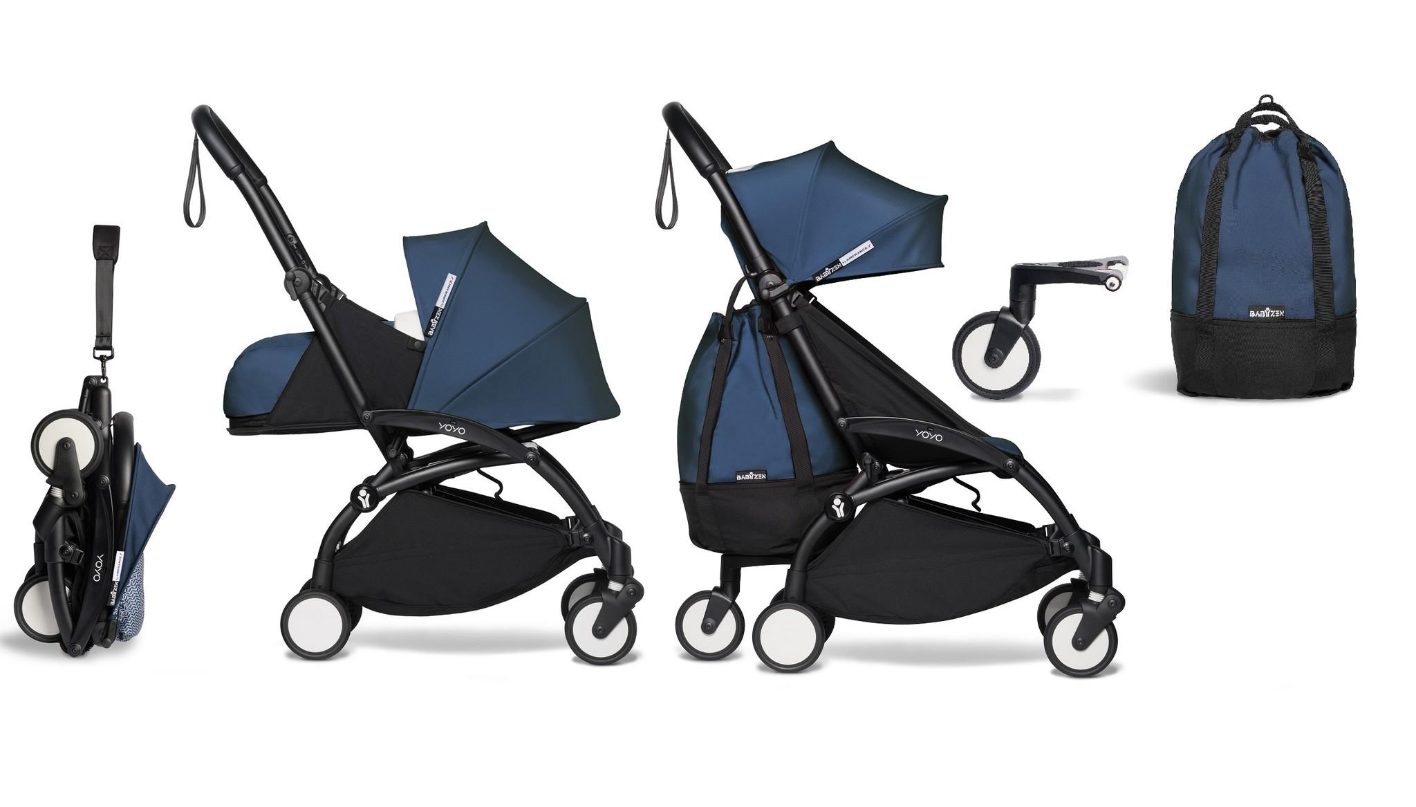 Babyzen YOYO² buggy COMPLEET vanaf de geboorte en inclusief YOYO Bag - AirFrance met frame zwart